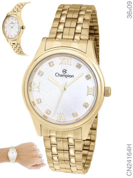 Relógio Feminino Dourado Champion Ouro CN24164H Prova D'água 1 Ano de Garantia
