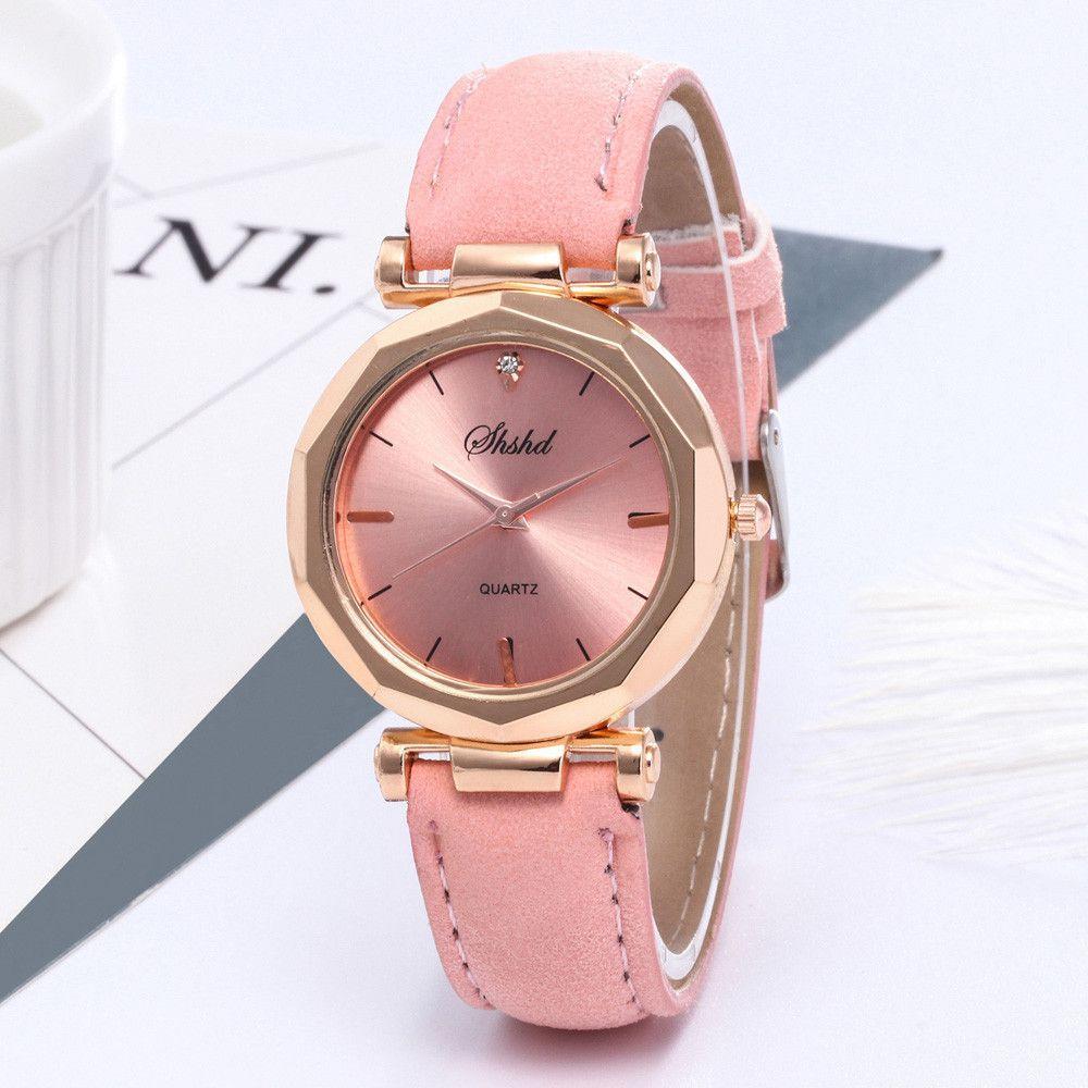 Relógio Feminino Pulso Rosê Barato Luxo Pulseira Couro