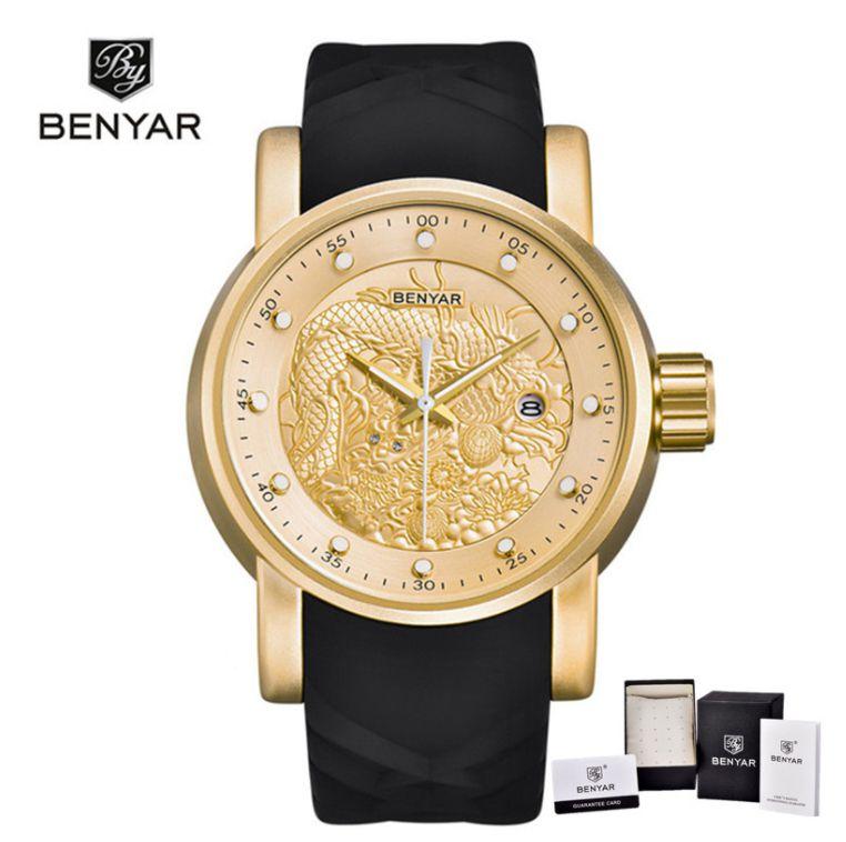 Relógio Luxo Benyar S1 Yakuza Preto Dourado