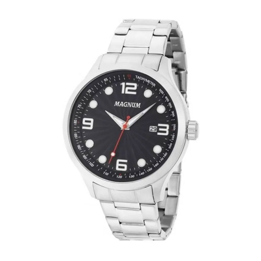 Relógio Magnum Masculino Prata Preto Ma33013t Original