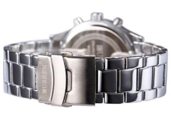Relógio Masculino Aço Inox Curren 8056 Prata Luxo