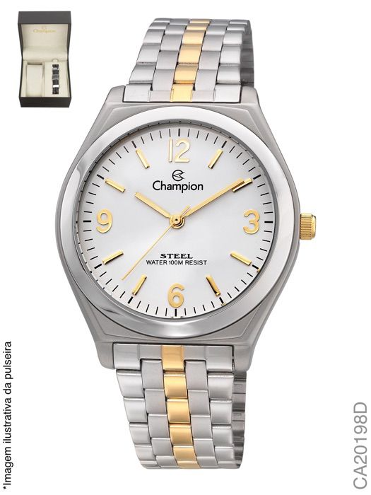 Relógio Masculino Champion CA20198D Prata + Acessório