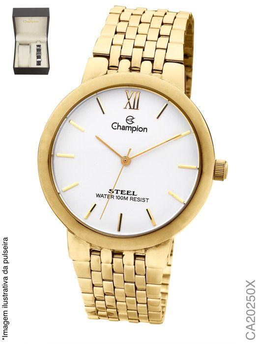 Relógio Masculino Champion CA20250X Analógico Aço Dourado