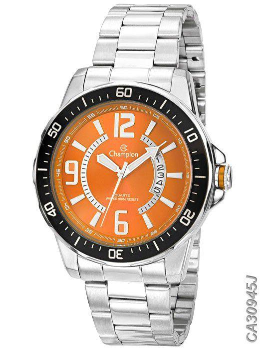 Relógio Masculino Champion CA30945J Laranja/Prata