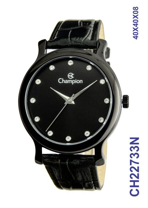 Relógio Masculino Champion CH22733N Couro Preto