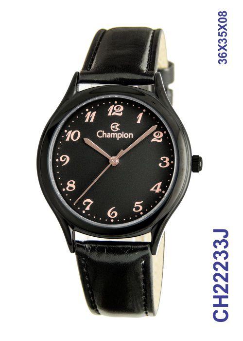 Relógio Masculino Champion Preto Pulseira Couro CH22233J