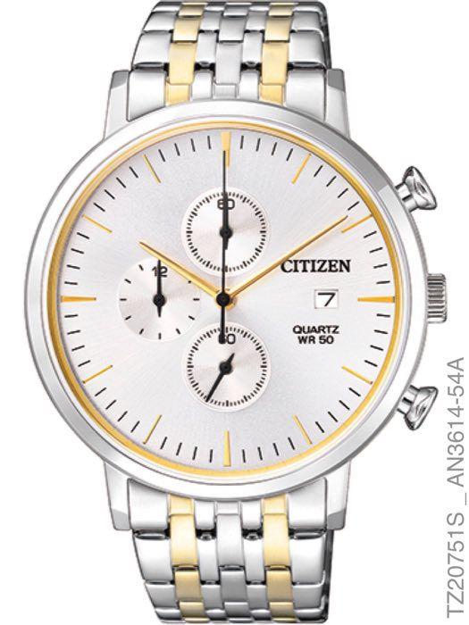 Relógio Masculino Citizen Prata Dourado TZ20751S