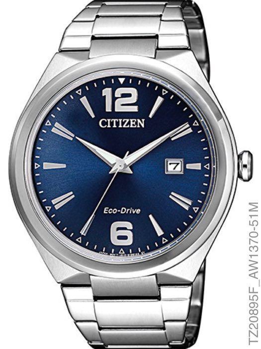 Relógio Masculino Citizen TZ20895F Eco-Drive Prata Fundo Azul