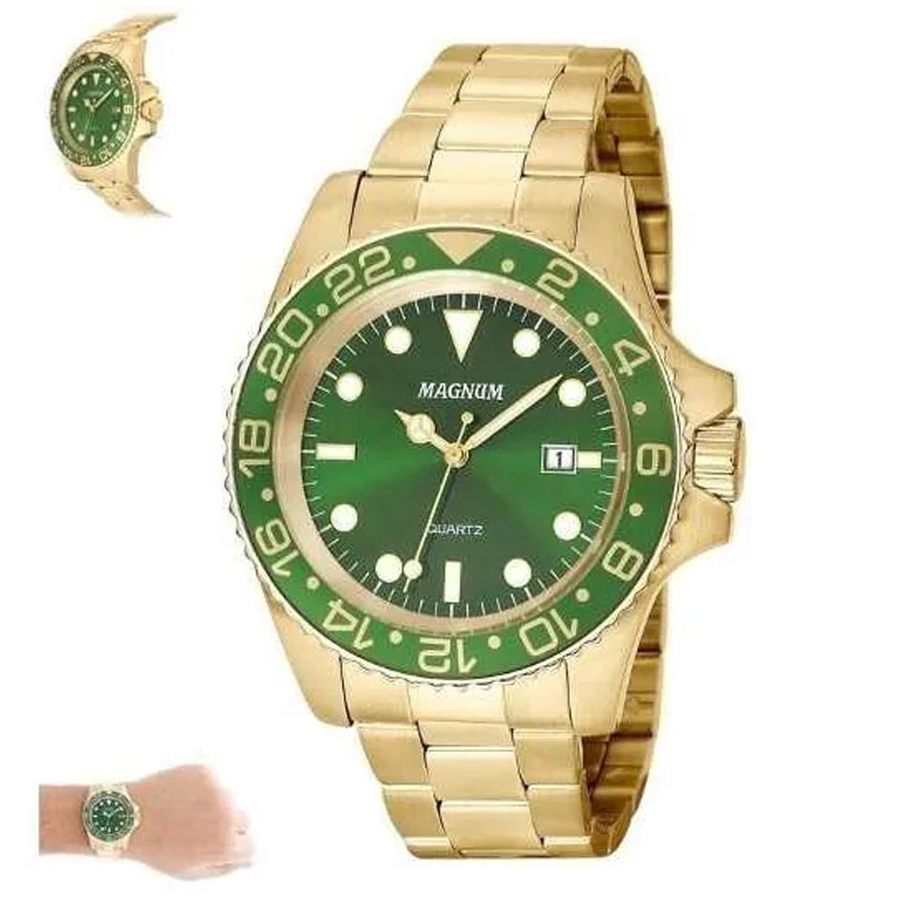 Relógio Masculino Dourado Ouro Magnum Ma32934g Garantia