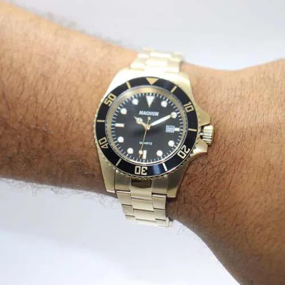 Relógio Masculino Magnum Dourado Aço Ma33068u