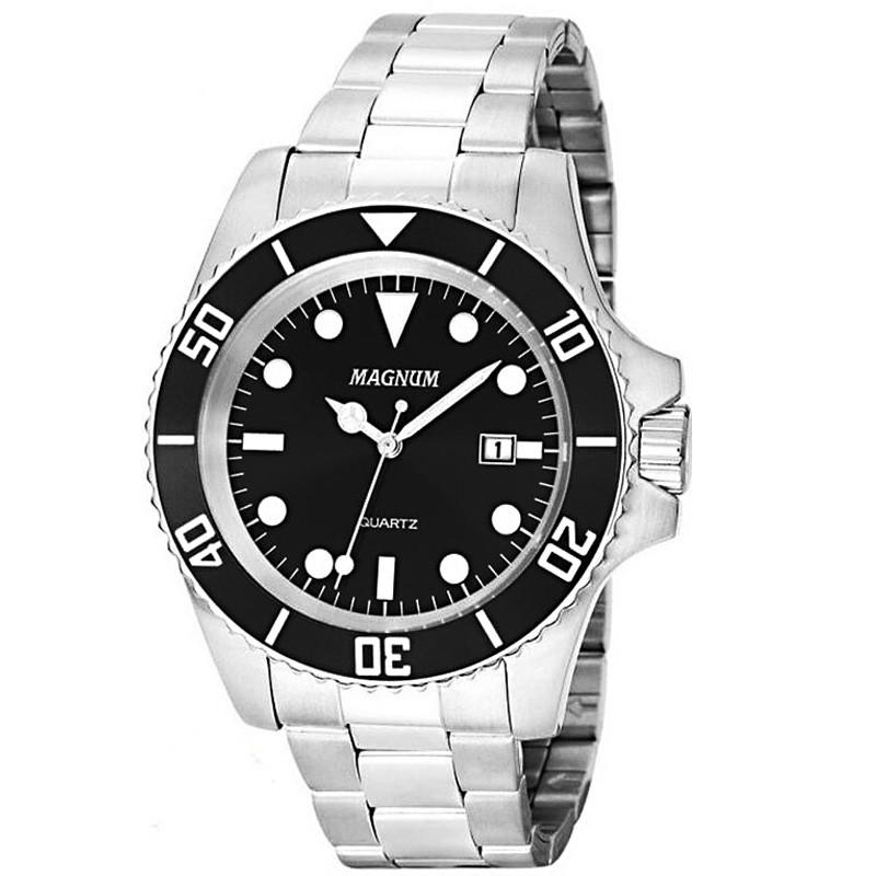 Relógio Masculino Magnum Prata Ma33068t Original Aço