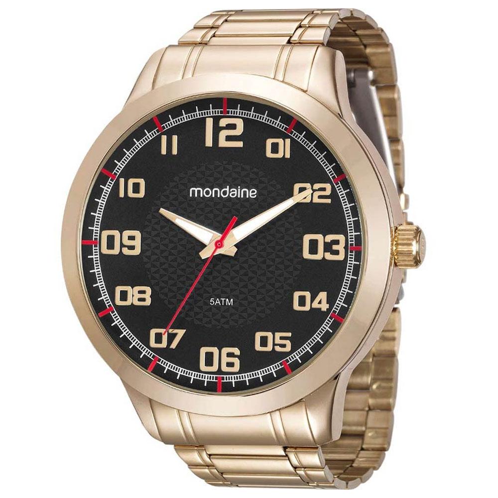 Relógio Masculino Mondaine 99142gpmvde5 48mm Aço Ouro Original Garantia