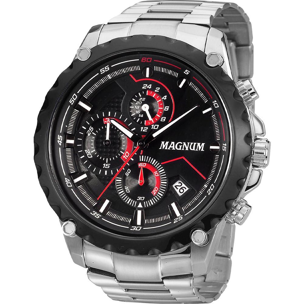 Relógio Masculino Prata Magnum Ma33675t Calendário