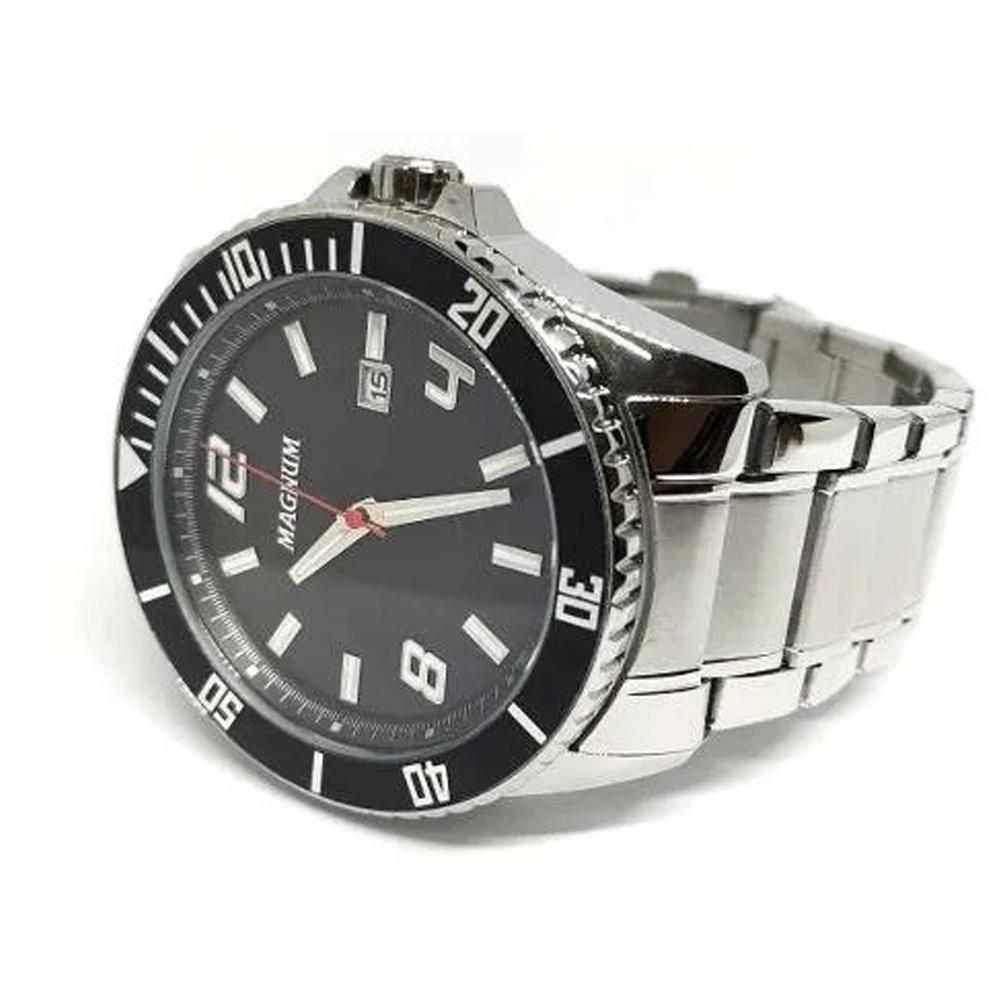 Relógio Masculino Prata Magnum Prateado 2 Anos De Garantia MA33077T