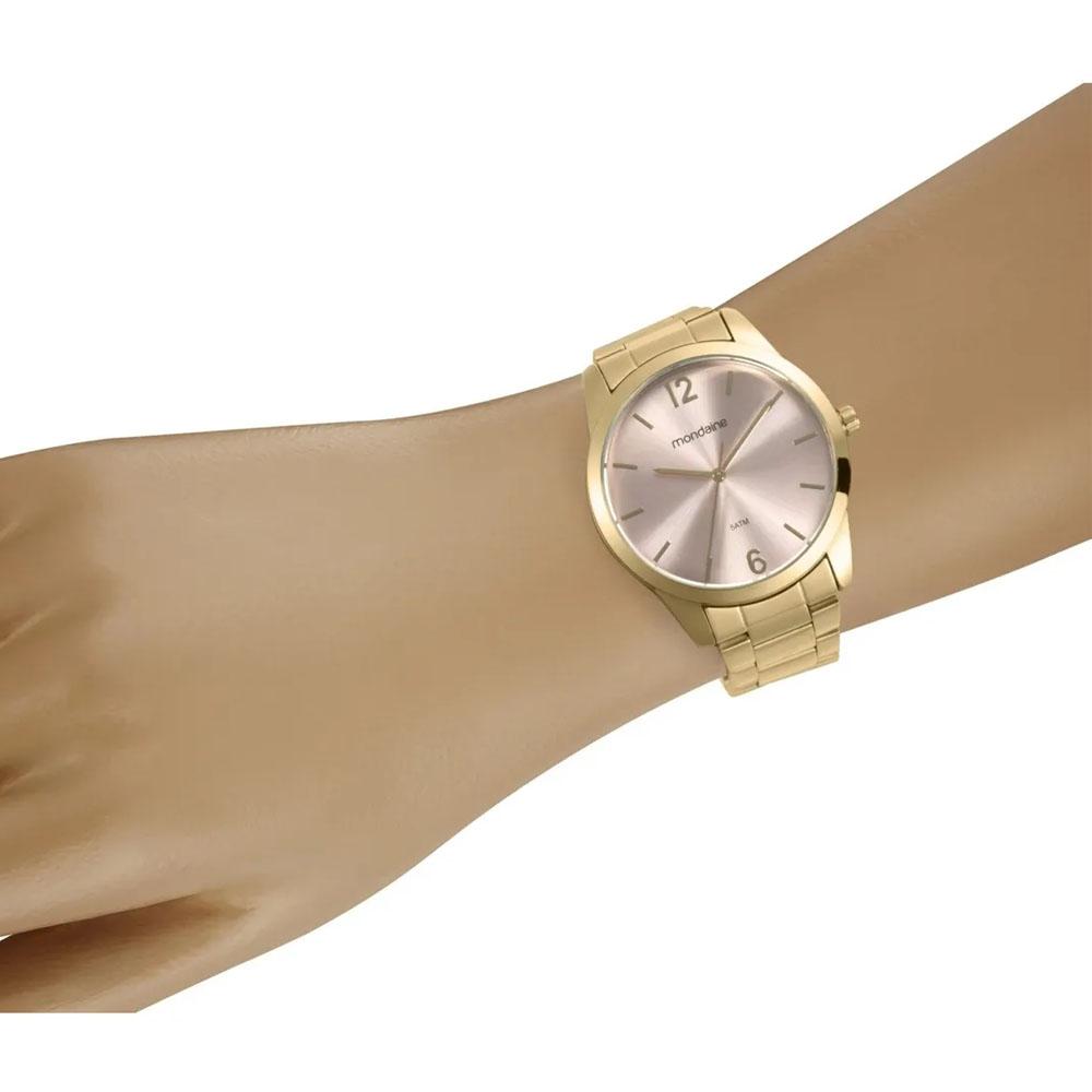 Relógio Mondaine Feminino A Prova D'Água Original 99457lpmvde1 Ouro Rosê