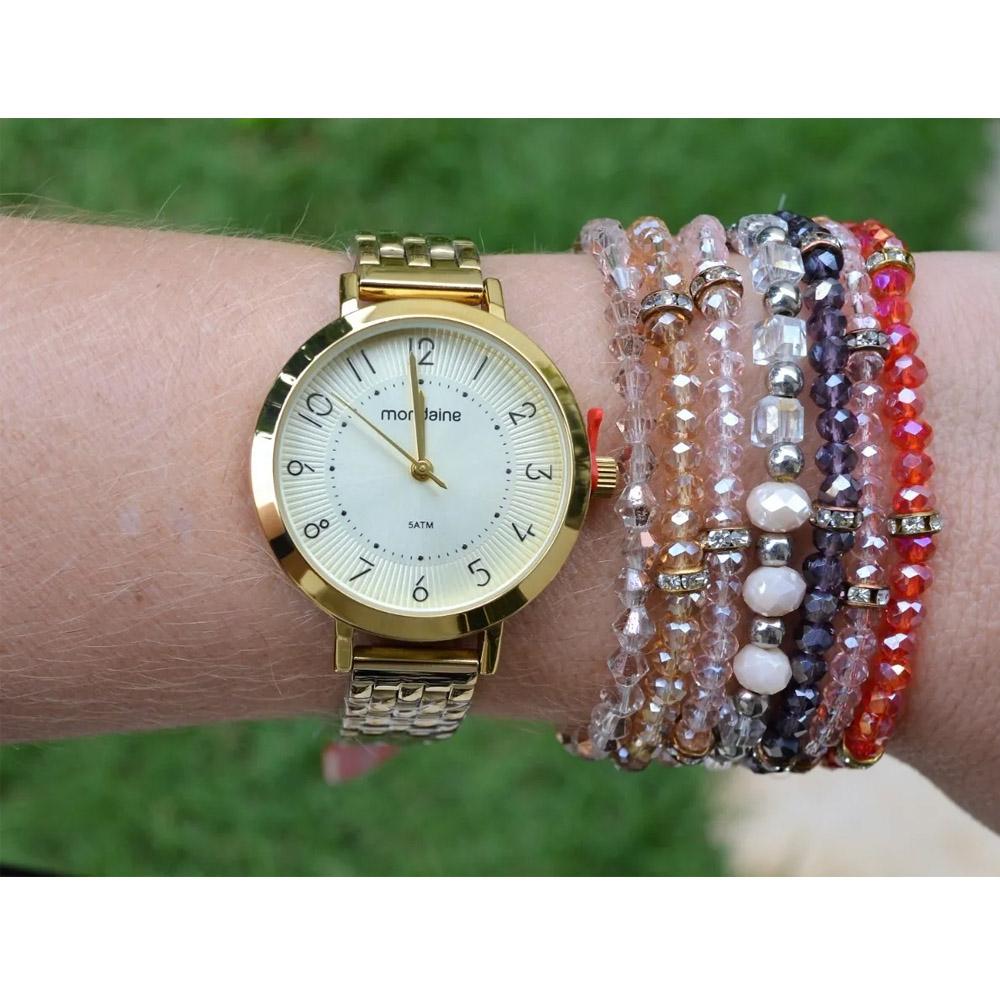 Relógio Mondaine Feminino Aço Dourado Original Social Ouro A Prova D'Água