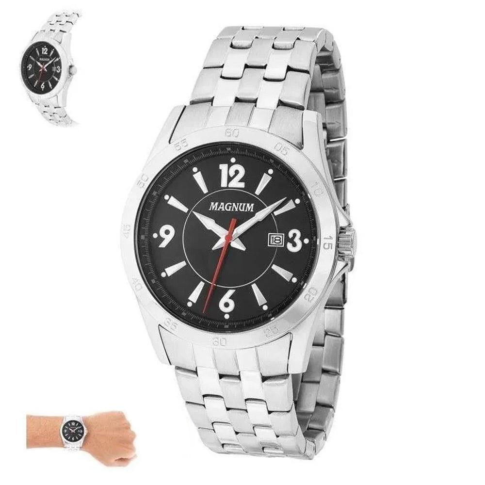 Relógio Prata Masculino Magnum Ma33040t Prova Dágua