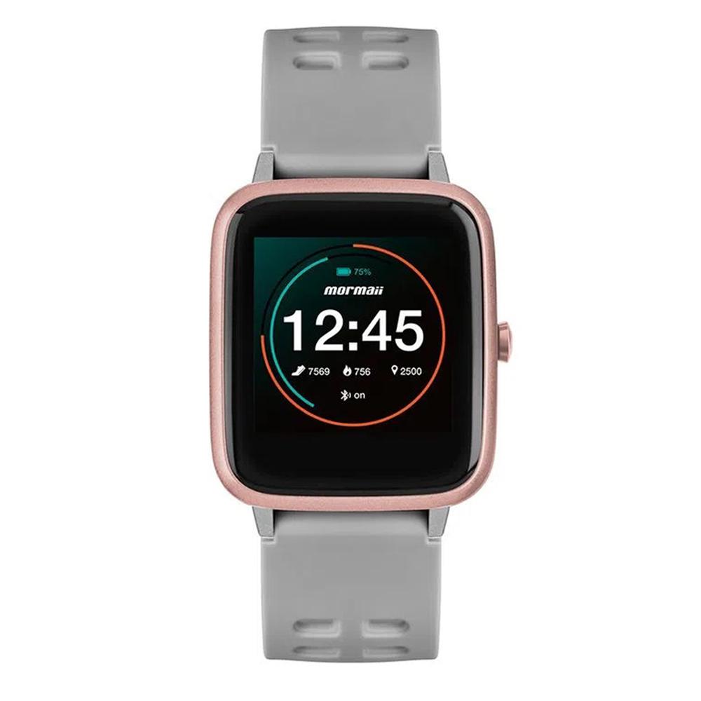 Relógio Smartwatch Mormaii Life Masculino Feminino Preto Rose Cinza