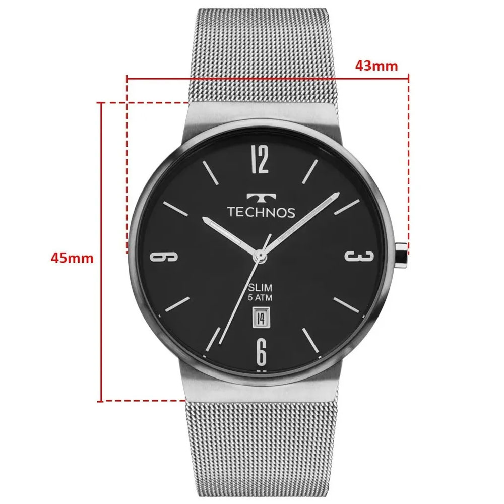Relógio Technos Masculino Prata Prova Dágua 1 Ano Garantia
