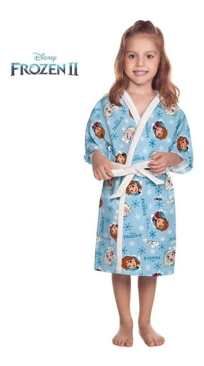 Roupão Aveludado Infantil Menina Personagem Disney Frozen 2