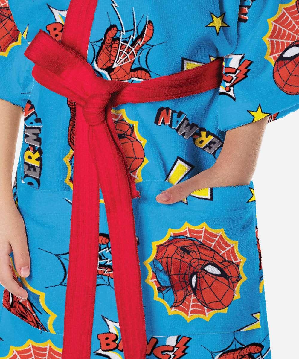 Roupão De Banho Infantil Aveludado Homem Aranha Spider Man Lepper