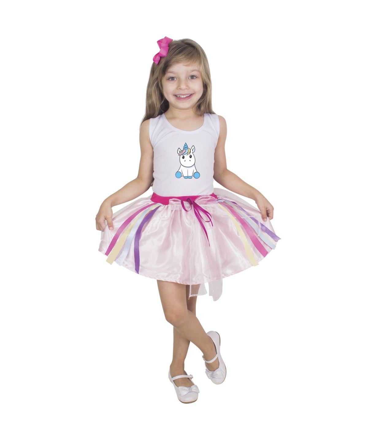 Vestido Fantasia Unicórnio Infantil Luxo