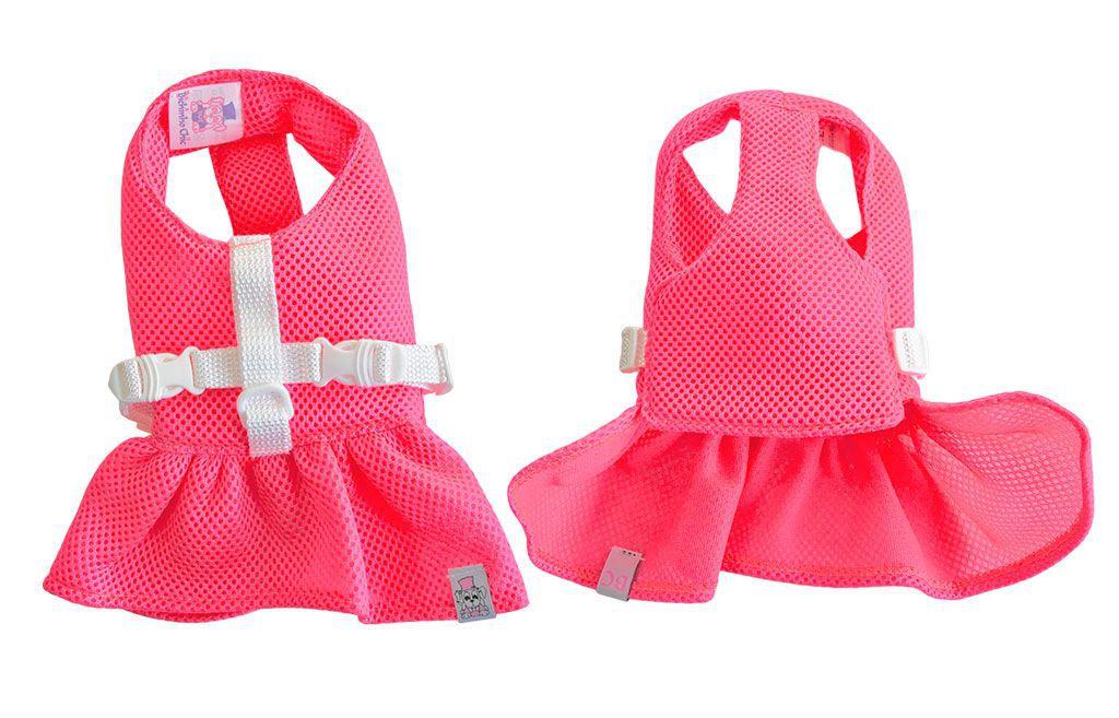 Vestido Peitoral Para Cachorros Cães Rosa Tamanho 0
