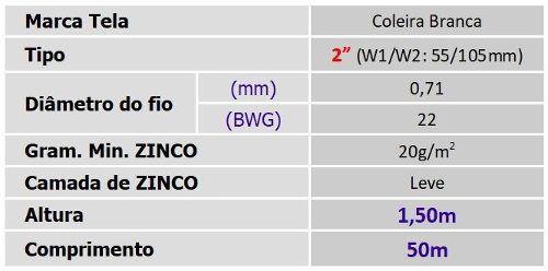 Tela Galinheiro 2 22x1,50x50m Coleira Branca Morlan