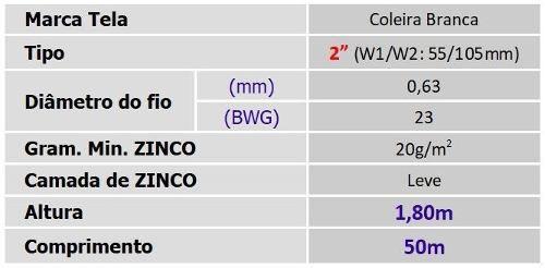 Tela Galinheiro 2 23x1,80x50m Coleira Branca Morlan