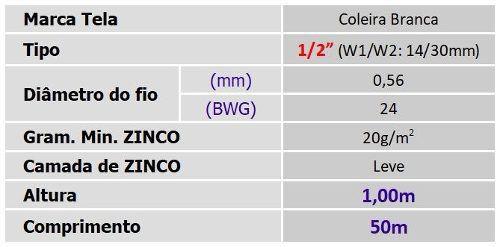 Tela Viveiro 1/2 24x1,00x50m Coleira Branca Morlan