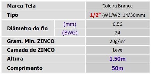 Tela Viveiro 1/2 24x1,50x50m Coleira Branca Morlan