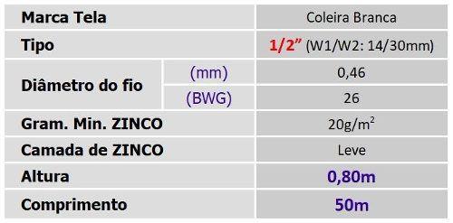 Tela Viveiro 1/2 26x0,80x50m Coleira Branca Morlan