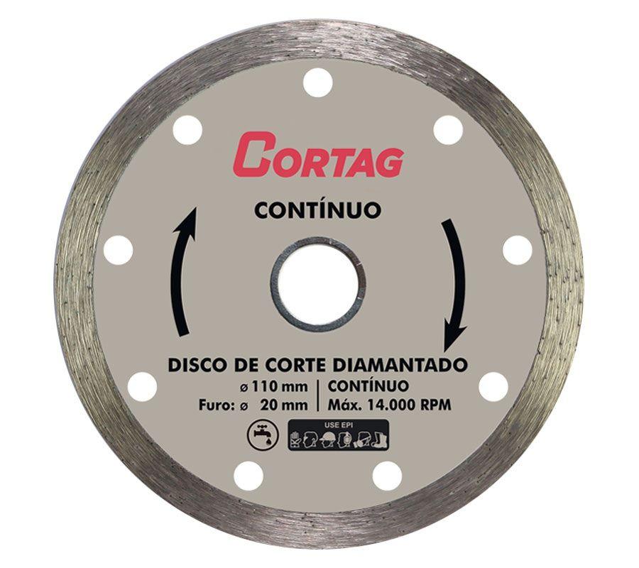Disco Corte Diamantado Porcelanato 110mm Contínuo (Liso) Cortag