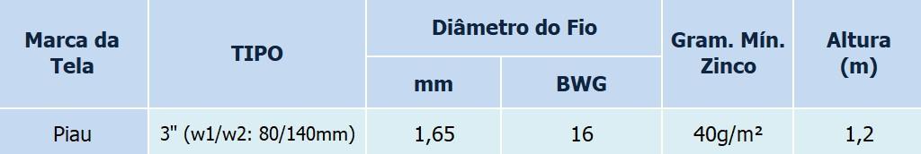 Tela Mangueirão 3 16x1,20x50m Piau Morlan