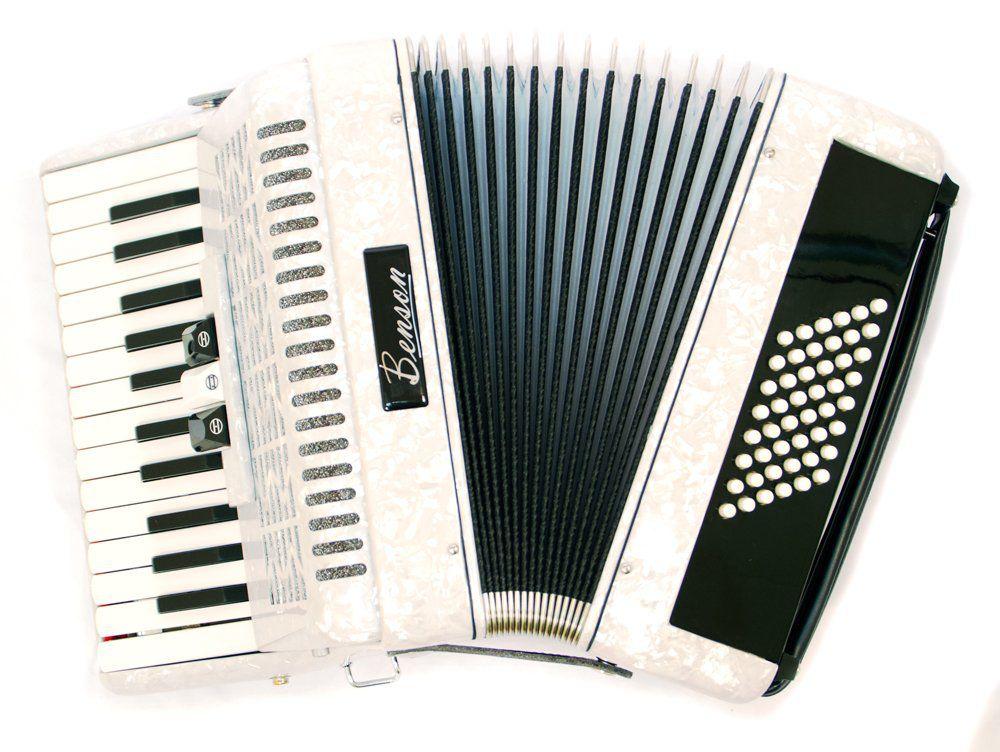 Acordeao 48 baixos Benson BAC48-3PWH branco, 3 registros
