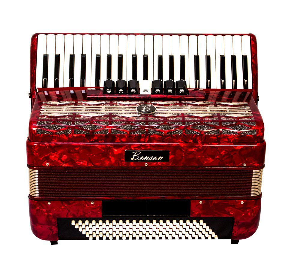 Acordeon Benson Bac120 Vermelho Perolado 120 Baixos 41 Teclas Com Case