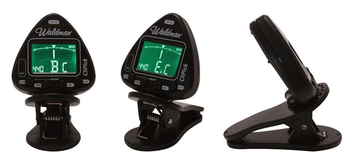 Afinador Cromático Digital Waldman CP-10 CliPick Black