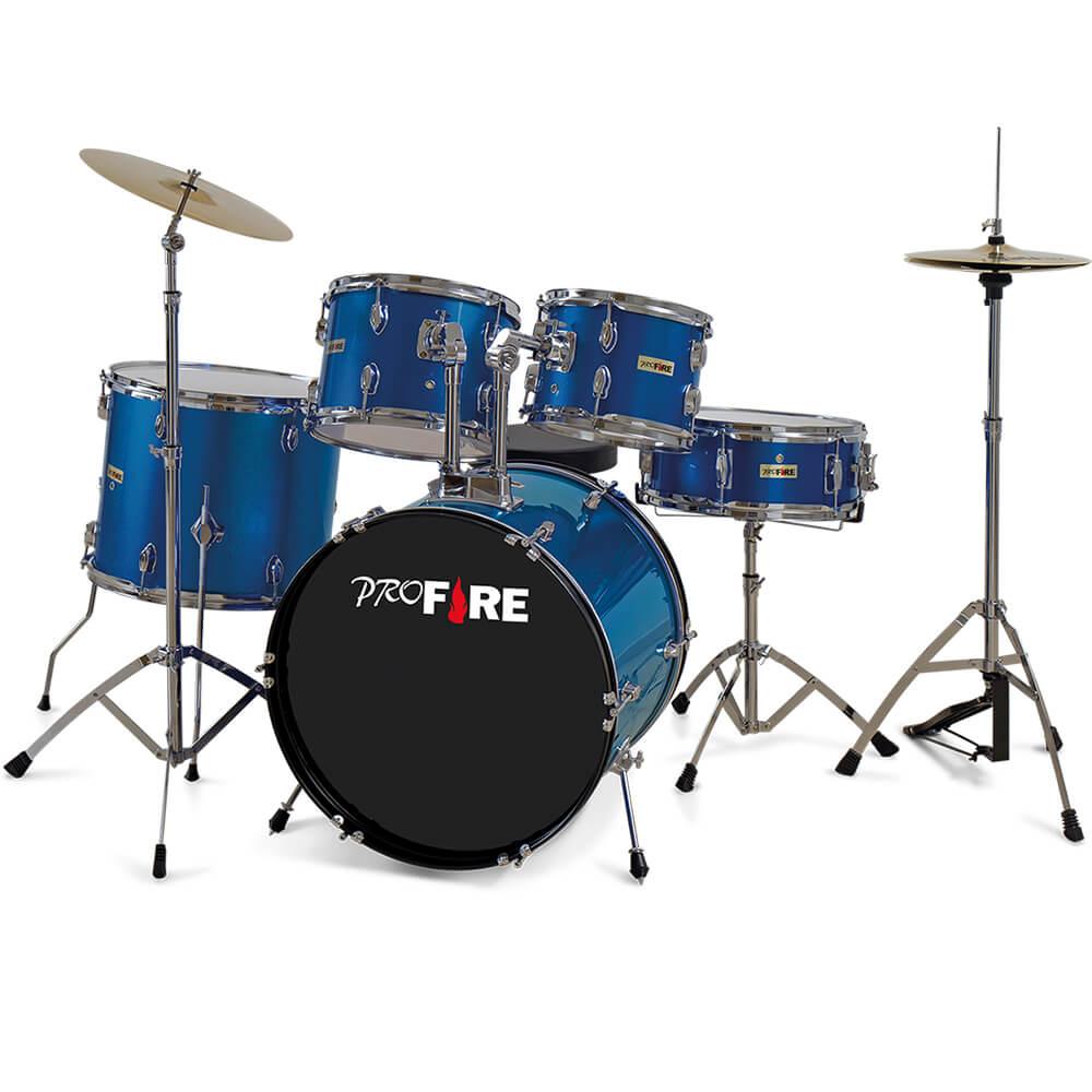 Bateria Acústica Pro Fire 20 Azul Ferragem Cromada com Prato
