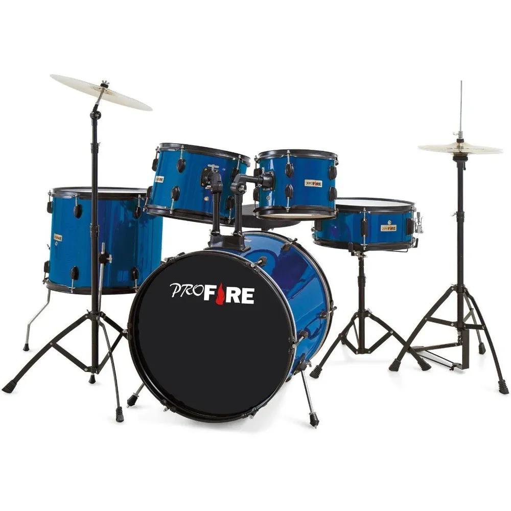 Bateria Acústica Pro Fire 20 Azul Ferragem Preta com Prato