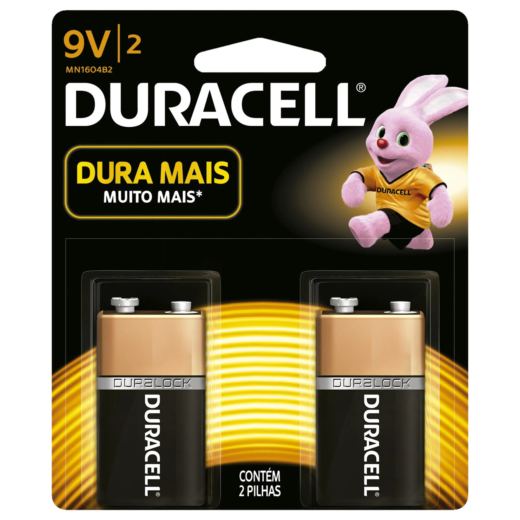 Bateria Alcalina 9V (Caixa c/24 baterias)(Cartela c/2 baterias) DURACELL - CXF / 24