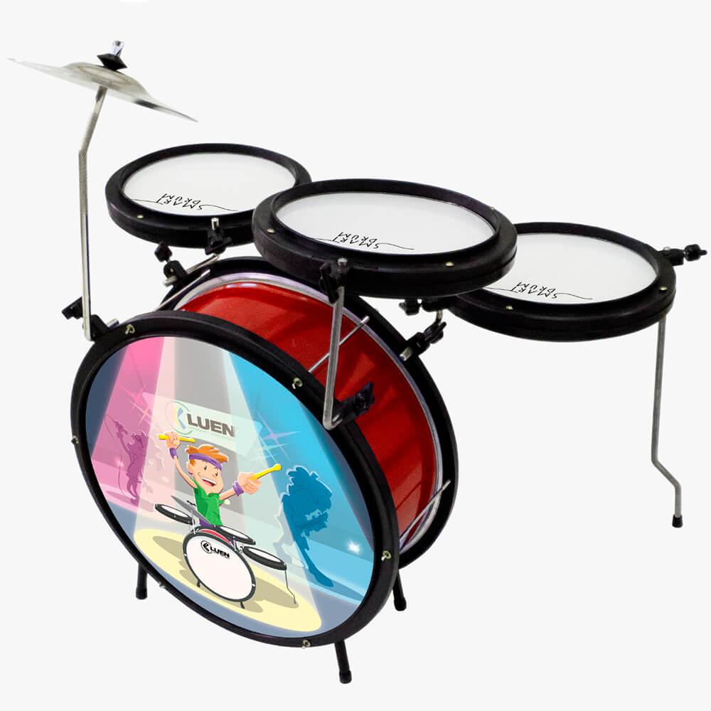Bateria Infantil Luen Percussion Smart Drum Vermelha