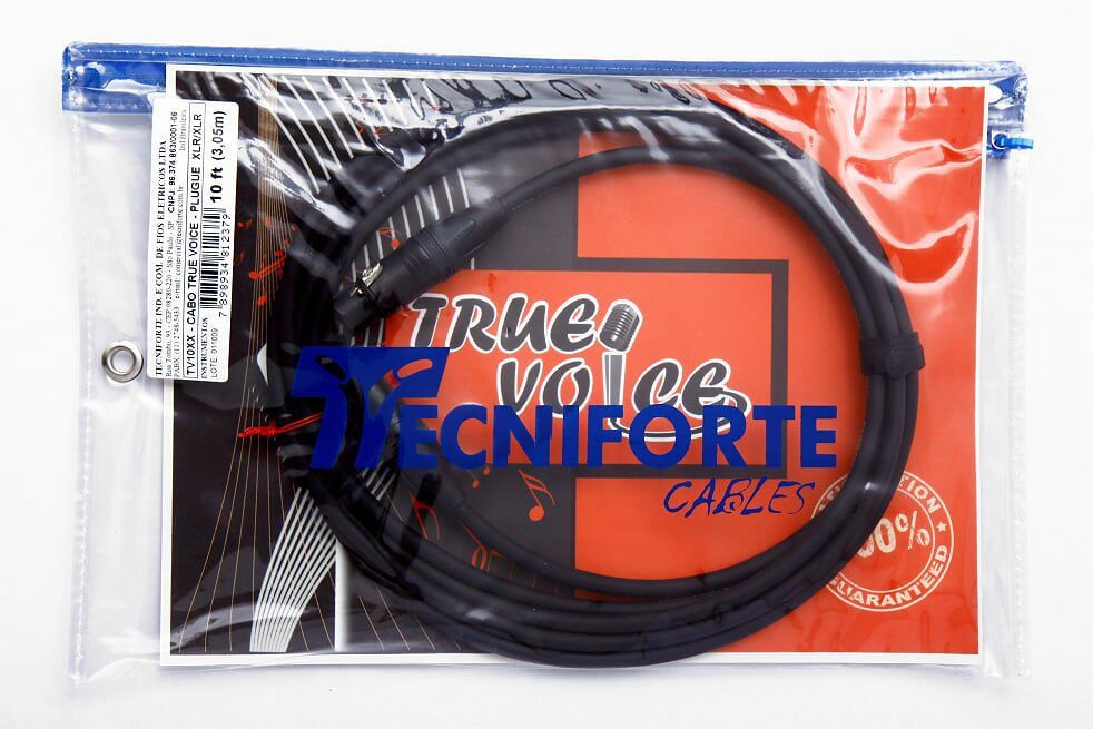 Cabo para Microfone Tecniforte True Voice XLR/XLR  3,05m