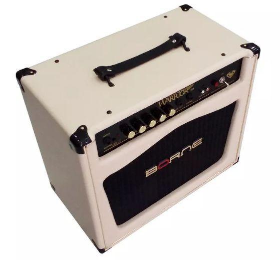 Caixa Amplificada Borne Warrior 50 Signature Cacau Santos 1x10'' 50w RMS para Guitarras Creme
