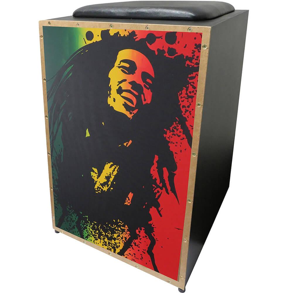 Cajon Acústico Inclinado K2 COR-002 Bob Marley JAGUAR