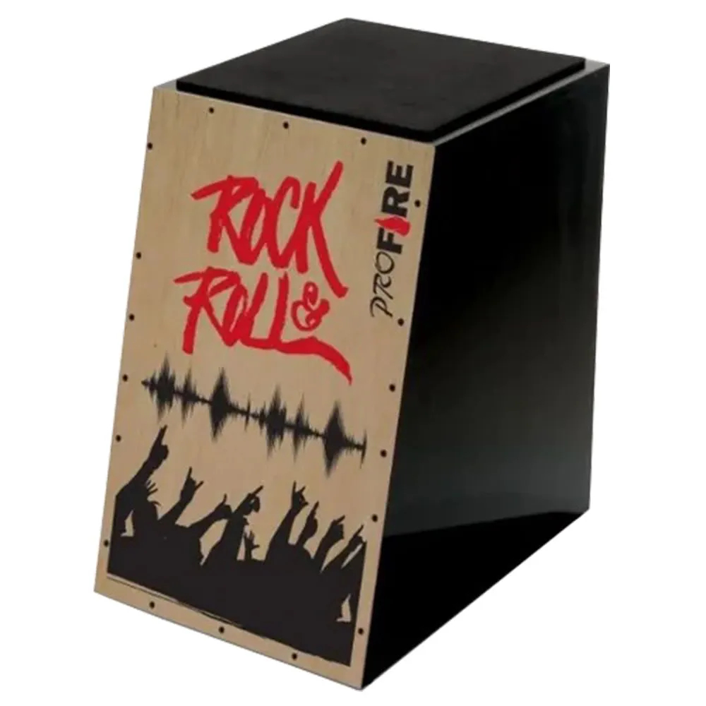 Cajon Acústico Inclinado Pro Fire Rock n Roll