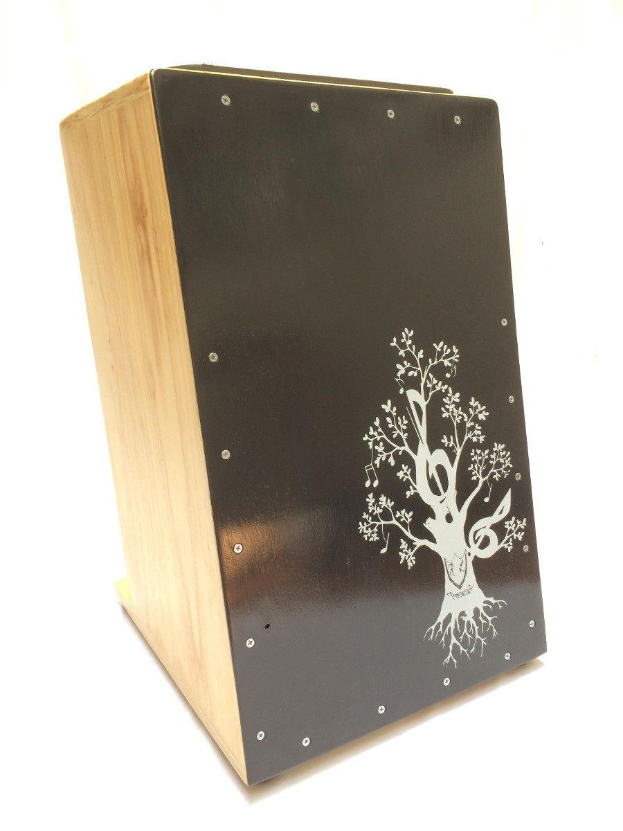 Cajon Inclinado Real Line Up Florescer Elétrico Preto