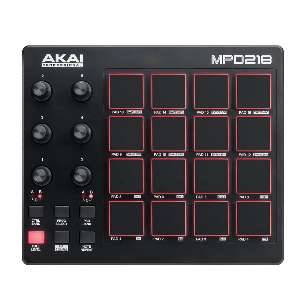 Controlador Akai Professional MPD218 16 Pads MIDI/USB