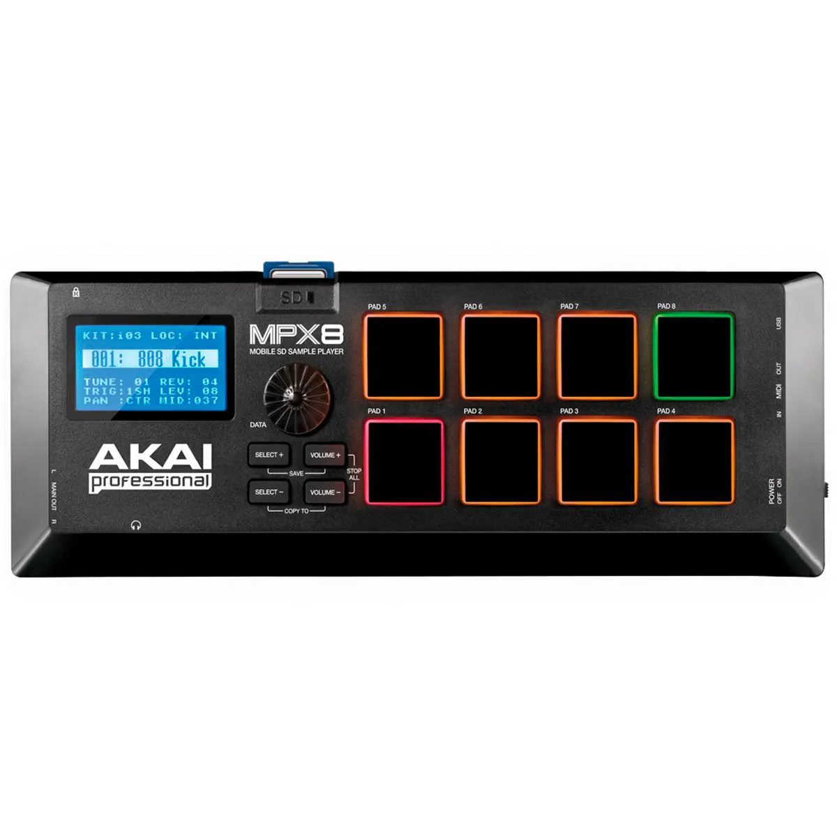 Controlador Akai Professional MPX8 Sample Player Portátil