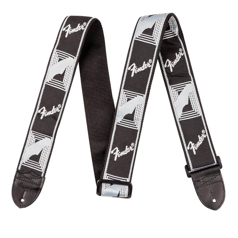 Correia para Instrumentos Nylon Monograma Preta Logo Branca FENDER