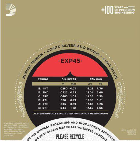 Encordoamento D'addario EXP45 Pro Arte nylon 028-044 para Violão